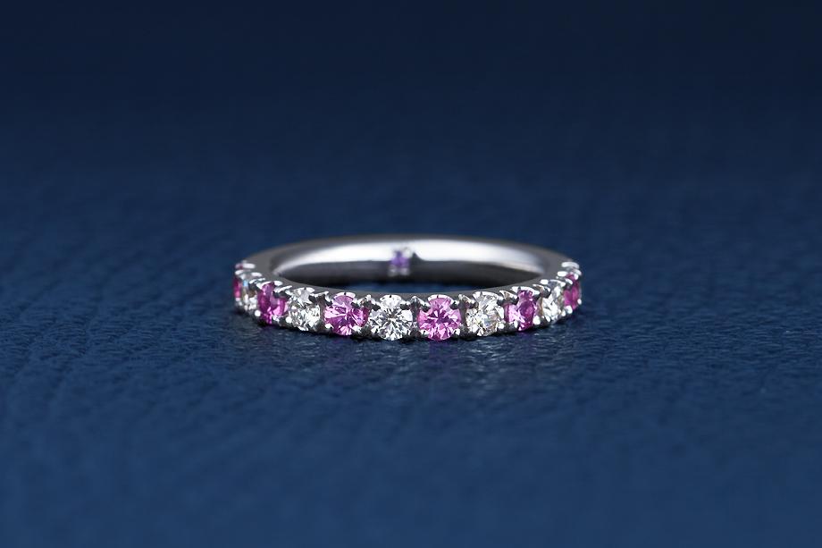 作ってみた - 特別注文!<BR />家内の誕生日にピンクサファイアダイヤモンドハーフエタニティーリングを2.5mmで製作の画像