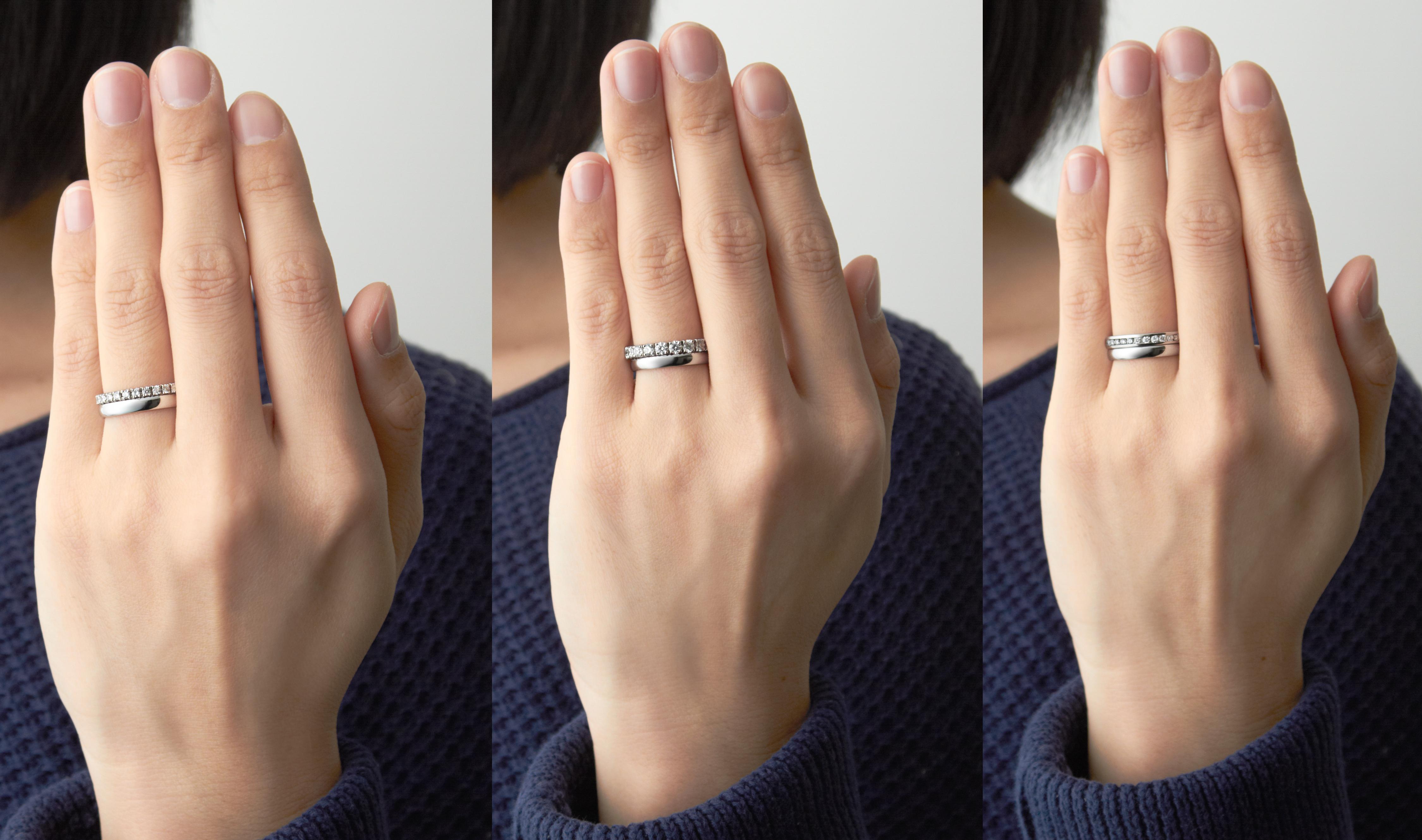 写真のなかで身につけているシンプルな結婚指輪はすべて同じデザインで