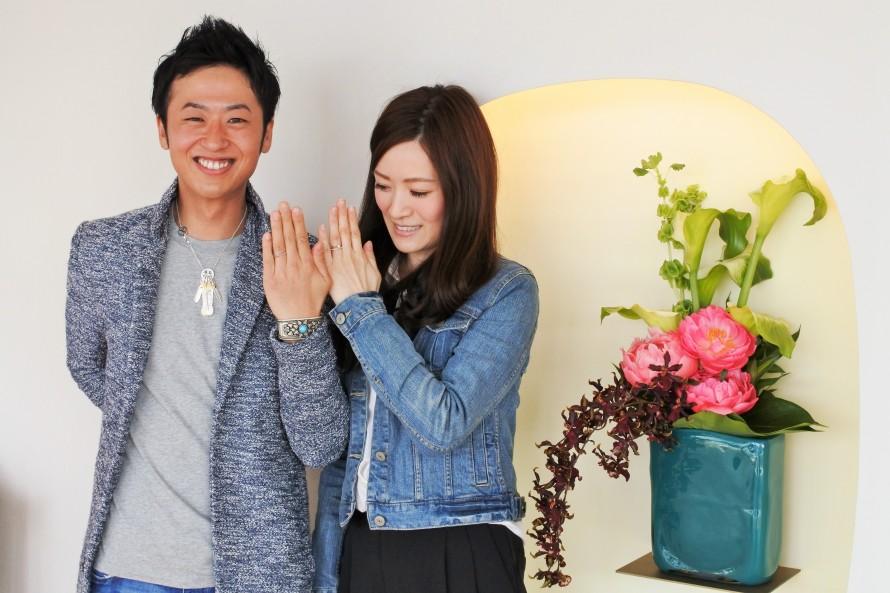特別注文イエローゴールドの結婚指輪の画像