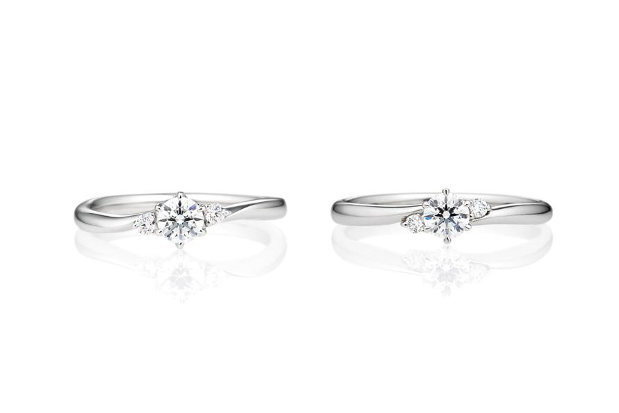 ウェーブ×サイドストーンの婚約指輪 お指の見え方の画像